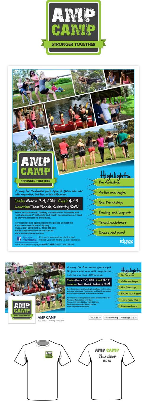 AMP Camp Logo, Flyer, Facebook and Tshirt design