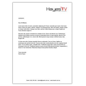 Hayes TV Berwick Letterhead design