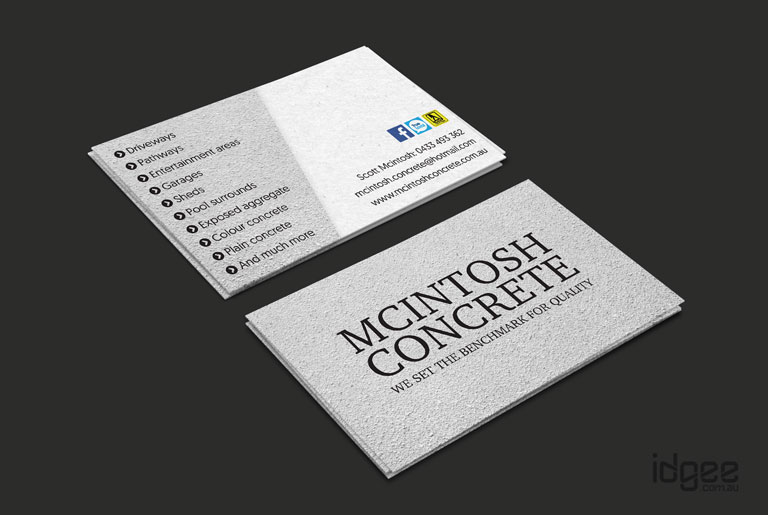 Business card design melbourne cintosh concrete business card design narre warren macintosh concrete reheart Images