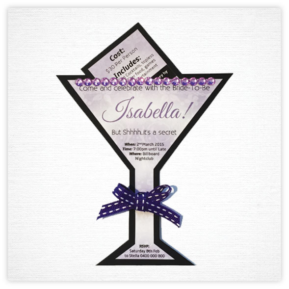 Hens Invitation Package 1 -Cocktail Glass Cutout