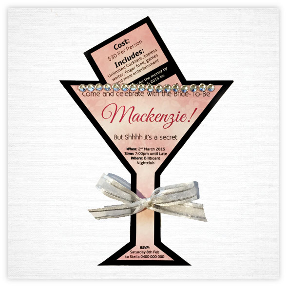 Hens Invitation Package 3 -Cocktail Glass Cutout